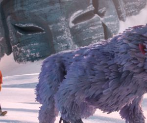 1700.0020.still.laika.0002 (l-r.) The journey begins as Little Hanzo, Kubo (voiced by Art Parkinson), and Monkey (voiced by Academy Award winner Charlize Theron) trek through The Tundra in animation studio LAIKA's epic action-adventure KUBO AND THE TWO STRINGS, a Focus Features release.  Credit: Laika Studios/Focus Features